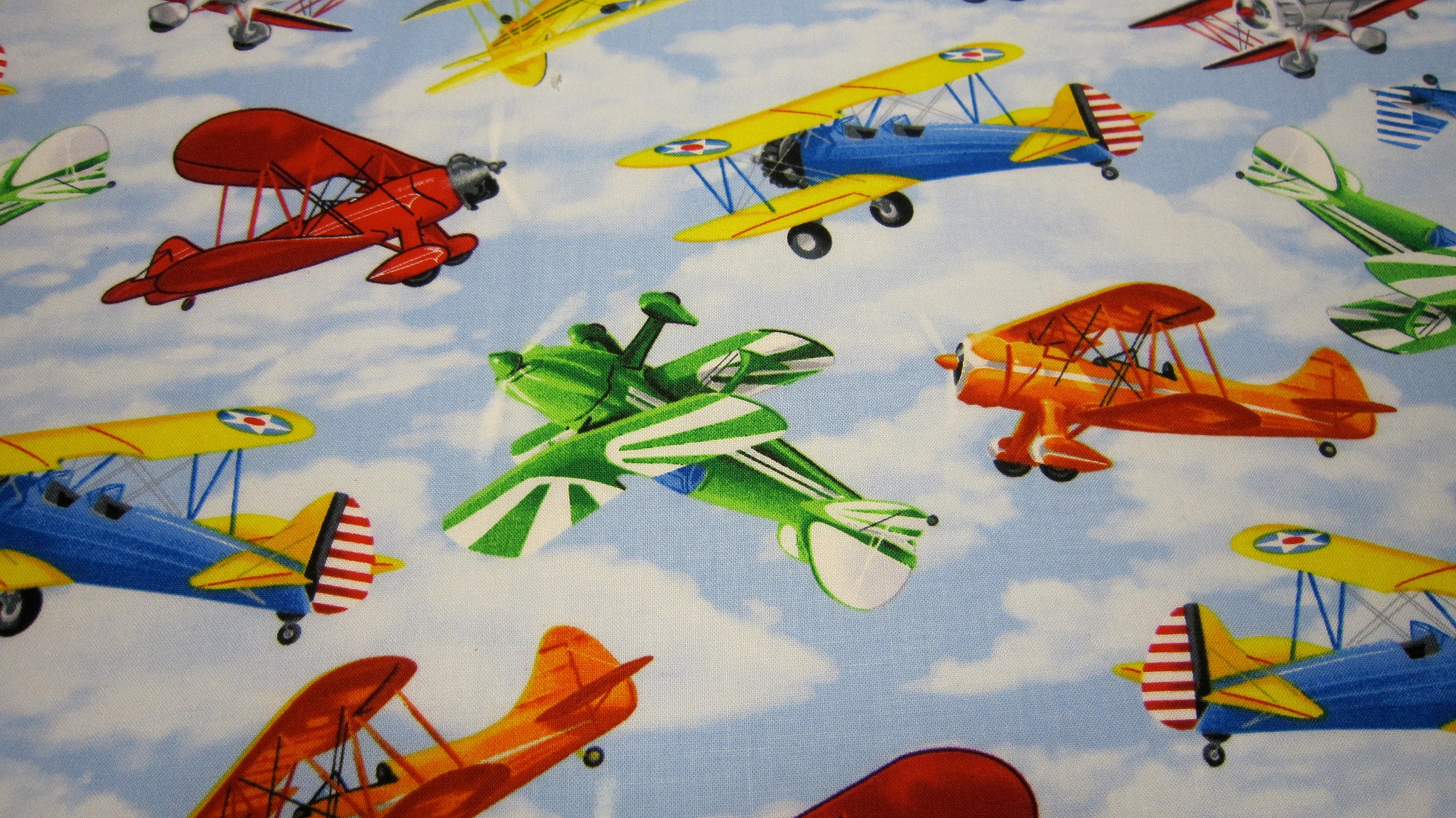 Timeless treasures cotton airplane fabric called propeller for Childrens airplane fabric