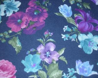 Dark Navy Blue Floral Fabric / Rayon Cotton Blend / Large Flower Design / Dress Fabric / Fashion Apparel Fabric / Clothing Fabric