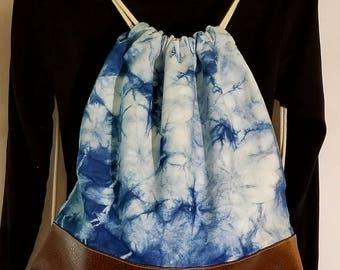 Hand Dyed Indigo, Shibori, Denim and Faux Leather Drawstring Backpack, Boho Chic, Bohemian