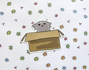 Cute Cat Vinyl Sticker, Kitty in a Box, Cute Sticker, Car Sticker, Bumper Sticker, Laptop Decal, Skateboard Sticker, Playful Cat, Gray Cat