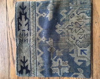 Antique blue persian pillow cover