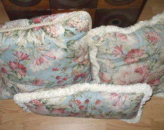 vintage extra large pillow set handmade french country cushions floral print rose light blue with off white corded trim fringe extra soft