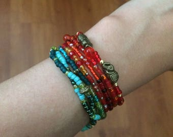"""Winding bracelet Set """"Orient Red"""" and """"seaweed"""""""