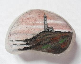 Sunset lighthouse United States- Acrylic miniature painting on Scottish sea glass