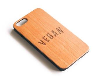 Vegan Gift, Vegan iPhone Case, Gifts For Vegans, Vegetarian Gift, iPhone 6 Case, Wood iPhone 7 Case, iPhone 6S Case, iPhone 8 Plus Case,