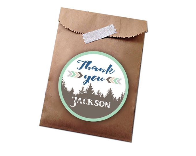 Woodland Favor Tag - Thank You Tag / Boys Thank You Hang Tags, DIY Printable Tag / first birthday /woodland boho tribal inspired tag