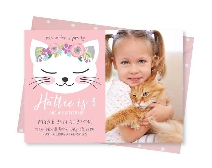 Photo Cat Birthday Party Invitation, Kitten, Cat Birthday Girl Printable Photo Invitation, Are you kitten me, Girl 3rd Birthday, Kitty Party