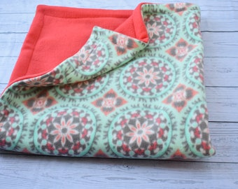 Oversized baby blanket(3 piece set)  and burp cloths ,baby shower gift,nursery,baby gift set,paisley, toddler blanket, mint green,