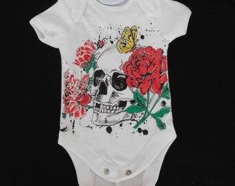 Short sleeved Baby's Bodysuit with Sugar Skull Design