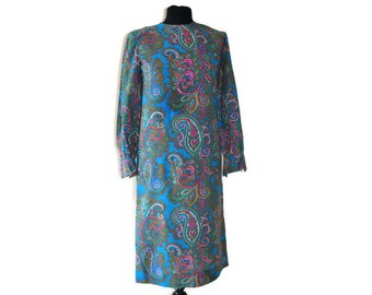 1960's Blue Shift Dress // Vintage Dress with Paisley Pattern in Pink, Green and Mustard // Medium