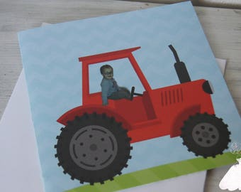 Tractor baptism birth announcement