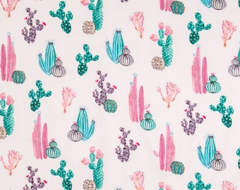Cactus / Succulent Fitted Crib Sheet, Nursery Bedding