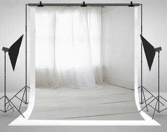White Indoor Curtains Photography Backdrops Seamless Wooden Floor Photo Backgrounds for Wedding Studio Props