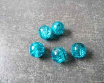Glass beads Crackle round shape in a set of 5