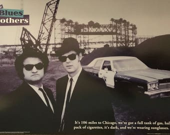 Wall Art, Movie Poster, The Blues Brothers, Jim Belushi, Dan Aykroyd, black and white with car poster 24 x 36