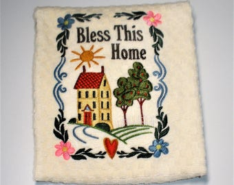 "Housewarming Gift, Bless This Home, Dish Towel, Hostess Gift, Birthday Gift, Country Kitchen, Country Decor, New Home Owner Gift  ""Home"""