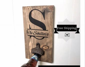 Personalized Wood Sign | Wall Mount  Bottle Opener Sign | Farmhouse Decor |Custom Wood Sign | Personalized wedding gifts | Groomsmen gifts |