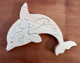 DIY Unfinished Wooden Dolphin Puzzle