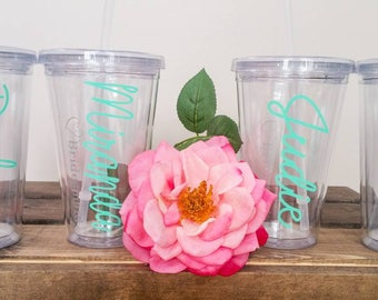 Clear Plastic tumblers with lid and straw.  Bridal party. Gift. Wedding. Customize.