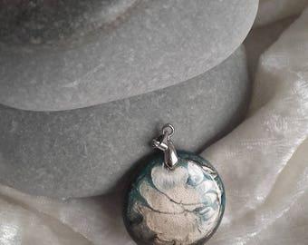 Pendant black and beige Pearl handmade, OOAK handmade, wood resin