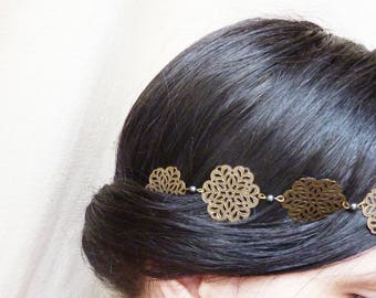 Headband flower filigree bronze appearance and gunmetal beads