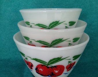 Fire-King Glass Apples and Cherries Splash Proof 3 Piece Mixing Bowl Set
