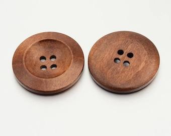Round 4-hole Brown Wooden Button - 30mm in diameter