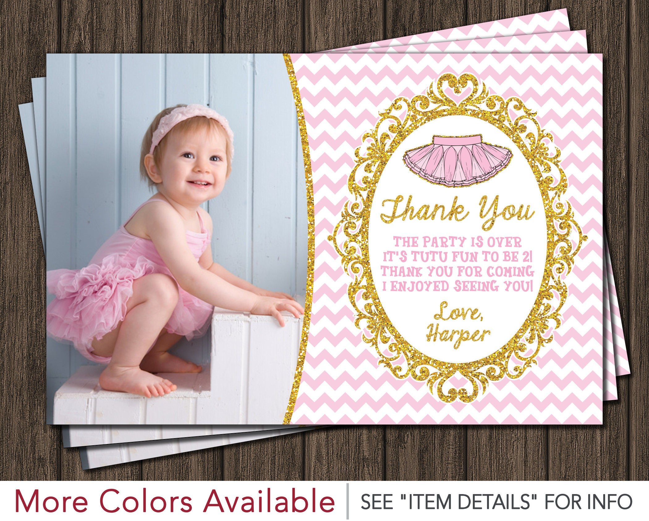 Tutu Birthday Thank You Card Ballerina Birthday Thank You