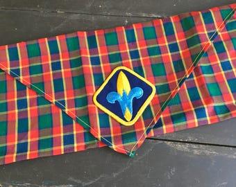 1980s Plaid Webelos Cub Scout neckerchief BSA