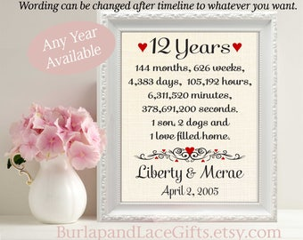 12th Anniversary Gift for Wife Anniversary Gift for Husband Gift to Wife Gift to Husband Gift to Her Anniversary Gift Wife (ana207-12)