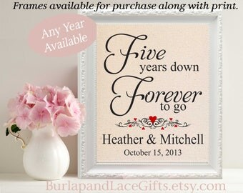 5th, 5th Anniversary Gift for her, 5 Years Down - Forever to Go, Personalized Print, Gift to Wife, Gift to Husband, 5 Year Anniversary (208)