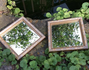 Vintage Mirrors, Pair of Vintage Mirrors, Small Square Mirrors, Vintage Home Interiors Mirror, Vintage Wood Mirror, Set of Two