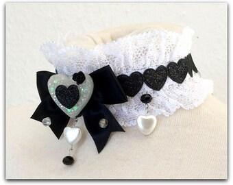 Pretty Lolita choker, maid, resin, heart, cabochon,black -white
