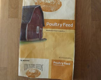 Empty Chicken Feed Sack Bags for DIY Project ~ Red Barn Plastic Feed Sack for DIY Projects