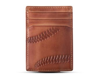 BASEBALL MAGNETIC Front Pocket Wallet • BROWN • Money Clip Wallet • Mens Leather Wallet • Multi-Card Functionality • Coaches Gift