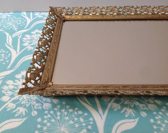 Vintage vanity mirror, mirror tray, gold filigree, rectangle mirror, filigree mirror, hollywood regency, #7