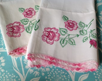 Pair of vintage embroidered pillowcases, pink pillowcases, pink flowers, embroidered pillowcases