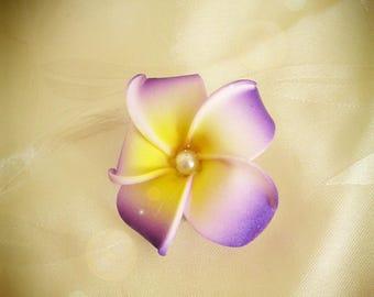 Barrette hair clip purple artificial plumeria flower