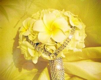 Pink Rhinestone bridal bouquet and customize frangipani flowers