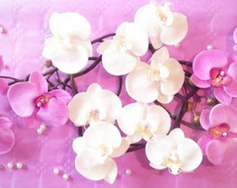 Artificial white orchids centerpiece