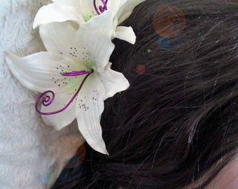fuchsia/White Lily hair clip double customize