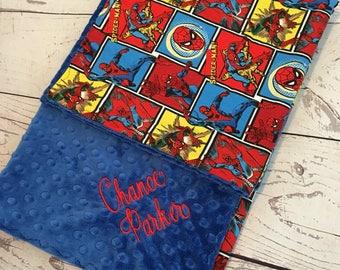Personalized Baby Blanket,Blue Minky Blanket,Monogrammed,Baby Gift,Spiderman,Superhero baby bedding,Handmade,Cotton,Baby Boy Blanket