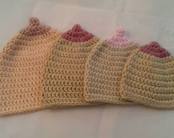 boob hat , breast feeding hat , boobie hat , crochet boob hat , pro breast feeding , feeding hat , baby , crochet baby hat  , breast milk ,