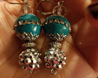 Teal and Silver Dangle Earring