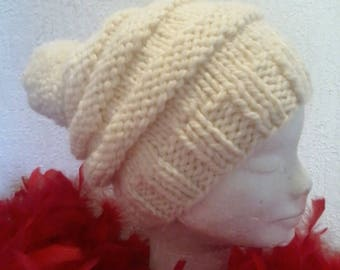 fashion knitted chunky Bobble Hat wool
