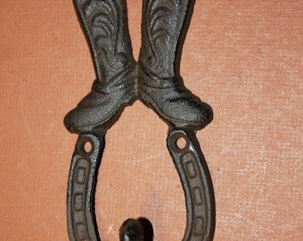 14% OFF Cowboy Boots Horseshoe Wall Decor, Rustic Farm Ranch Home Decor, Barn Wall Hooks, Stable, Cowgirl, Coat Hat Tack Wall Hooks, H-68