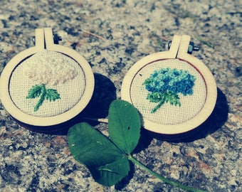 Frame Brooches Floral Subjects-hydrangeas