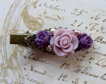 Purple And Lavender Pearl Alligator Hair Clip