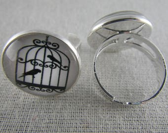 Bague063 - Ring silver, black and white bird cage