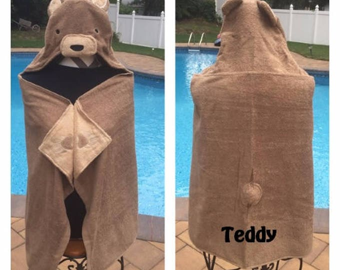 Teddy Bear Hooded Towel Bath Wrap Toddler beach towel - Personalized